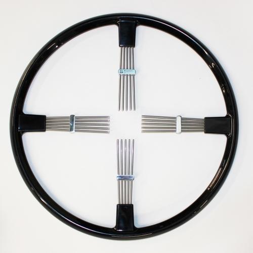 """Brooklands 4 spoke steering wheel - black rim 17""""/43cm"""