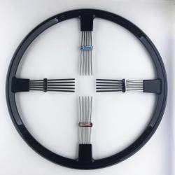 """Brooklands 4 spoke steering wheel - black rim 17""""/43cm clearance"""